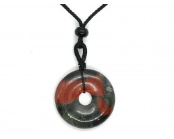 Bloodstone Ping An Kou Coin Pendant