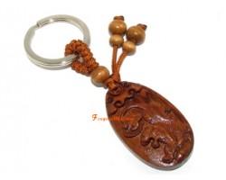 Chinese Horoscope Wood Keychain - Tiger