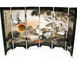 Chinese Tabletop Folding Screens - Cranes and Peonies