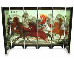 Chinese Tabletop Mini Folding Screens - Eight Running Horses