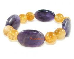 Citrine and Amethyst Crystal Bracelet