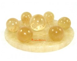 Citrine Crystal Balls on Star of David Yellow Jasper Base