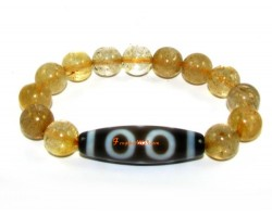 Tibetan Dzi Bead of Your Choice with Citrine Bracelet