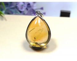 Citrine Tear Drop with Frame Pendant (Top Grade)