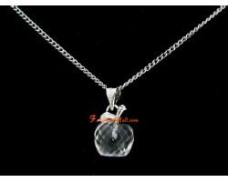 Faceted Apple Pendant Necklace - Clear Quartz