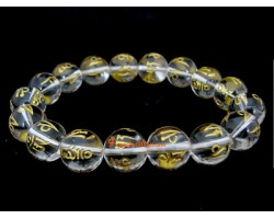 Clear Quartz Om Mani Padme Hum Bracelet (12mm)