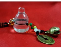 Clear Quartz Wu Lou for Health with Bell Hanging