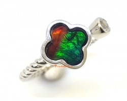 Clover Leaf Canadian Ammolite Adjustable 925 Silver Ring