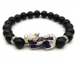 Color Changing Silver Pi Yao with Obsidian Bracelet