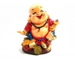 Colorful Adorable Laughing Buddha with Gold Coins