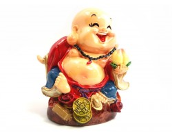 Colorful Adorable Laughing Buddha with Peach