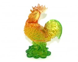 Colorful Feng Shui Rooster on Treasure