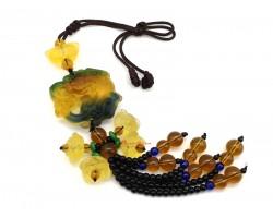 Colorful Liu Li Piyao with Lotuses Beaded Tassel