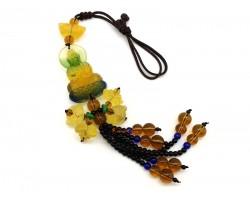 Colorful Liuli Kuan Yin with Lotuses Beaded Tassel