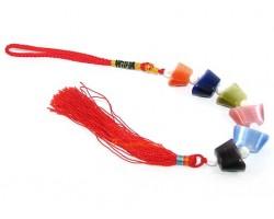Six Colorful Cats Eye Chinese Ingots Tassel