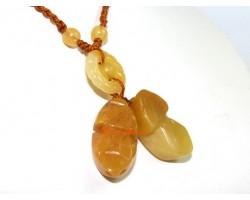 Double Yellow Jasper Piyao Pendant Adjustable Necklace