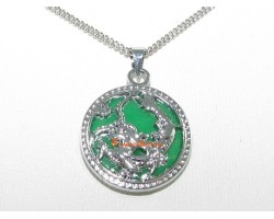 Good Fortune Dragon Jade Pendant Necklace (Round)