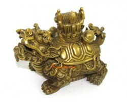 Brass Dragon Tortoise with Chinese Emperor's Hat