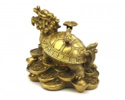 Brass Dragon Headed Tortoise with Ruyi (m)