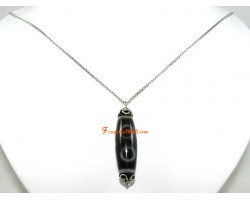 Tibetan Dzi Bead Pendant Necklace (SS)
