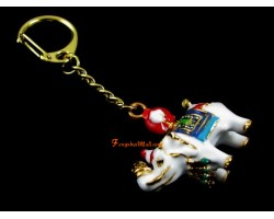 Elephant Carrying Flaming Jewel Keychain
