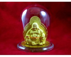 Encapsulated Two-Sided Golden Laughing Buddha