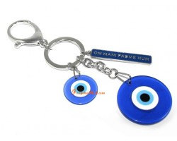 Evil Eye with Om Mani Padme Hum Keychain