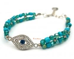 Evil Eye with Turquoise Beads Bracelet