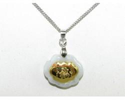 Exquisite Golden Good Fortune Lock on Grade A Jade Pendant