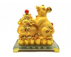 Exquisite Golden Good Fortune Rat with Wealth Bag (L)