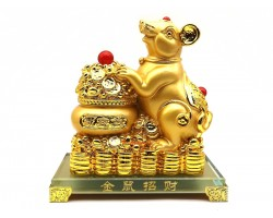 Exquisite Golden Good Fortune Rat with Wealth Pot (L)