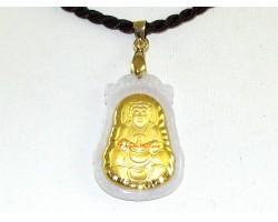 Exquisite Golden Kuan Yin on Grade A Jade Pendant