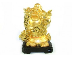 Exquisite Golden Laughing Buddha on Dragon Tortoise