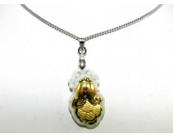 Exquisite Golden Pak Choy on Grade A Jade Pendant