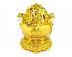 Exquisite Golden Wealth Pot with Overflowing Treasure
