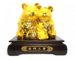 Exquisite Good Fortune Boar Family with Wealth Bag