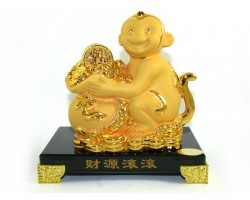 Exquisite Sparkling Golden Monkey with Bag of Treasure