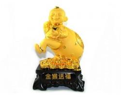 Exquisite Sparkling Golden Monkey with Big Sack of Treasure