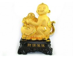 Exquisite Sparkling Golden Monkey with Overflowing Wealth Bag