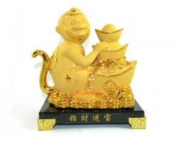 Exquisite Sparkling Golden Monkey with Stack of Gold Ingots
