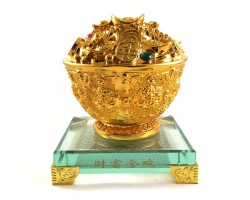 Extreme Good Fortune Golden Feng Shui Wealth Bowl