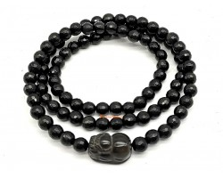 Faceted Black Obsidian with Pi Yao 3-Round Bracelet (6mm)
