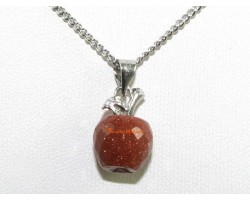 Faceted Apple Pendant Necklace - Gold Sand