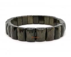 Faceted Rectangular Rainbow Golden Obsidian Bracelet
