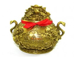 Feng Shui Brass Wealth Pot with 8 Auspicious Objects