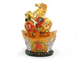 Feng Shui Horse on Ingot with Pineapple