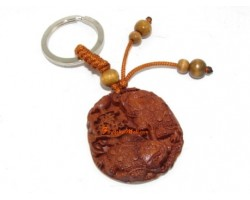 Feng Shui Pair of Money Frogs Wood Keychain