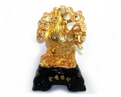 Golden Feng Shui Rooster with Money Tree