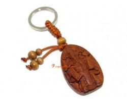 Feng Shui Wealth God Wood Keychain