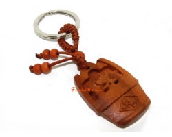Feng Shui Wealth Pot Wood Keychain